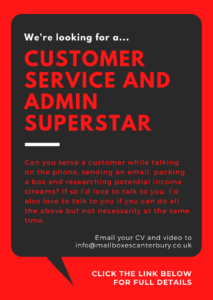 Job Advert - Mail Boxes Etc Canterbury - Customer Service and Admin Associate